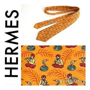 Hermès Snake Charmer in Orange silk neck tie